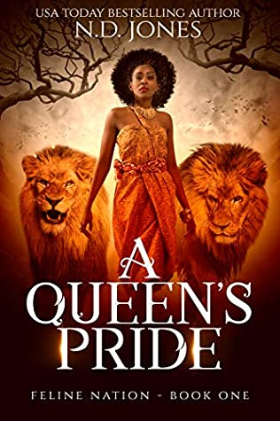 Young black girl with a lion and a lioness.